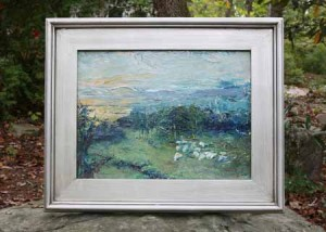 12x16 Original Framed Oil Painting Sheep Safely Grazing by RObin Lewis-Wild